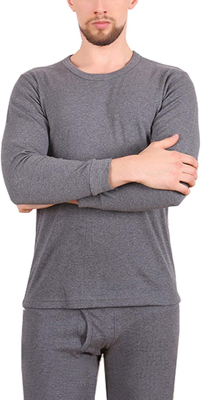 Seaoeey Thermal Set Winter Thermal Underwear Warm Top and Bottom Men's Underwear Set