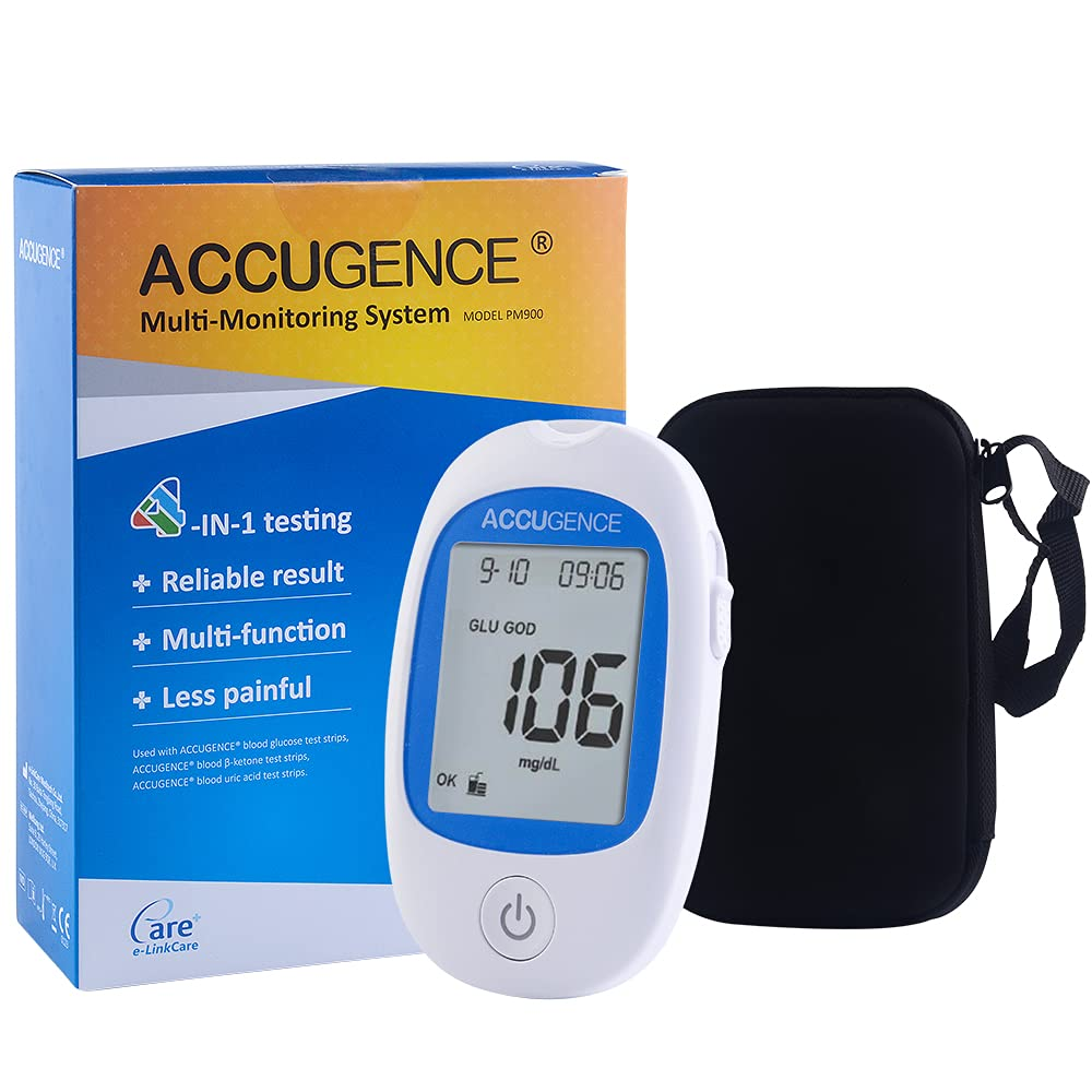 KONMED Sistema de medidor de glucosa en sangre de ácido úrico de cetona en sangre (GOD o GDH) preciso Dispositivo de control de gota de diabetes Reemplace las tiras reactivas (medidor de monitor)