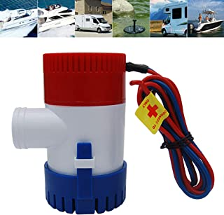 Rojuicy 1100GPH 12V Semiautomatic Electric Marine Submersible Bilge Sump Water Pump with Switch for Boat, Silent, Boat Caravan RV Submersible Bilge Pump