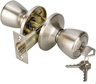 Knob Handle Keyed Entry Door Knobs Lock for Exterior Door Handle Tulip Style Knob in Satin Nickel (Entry-5761SN)