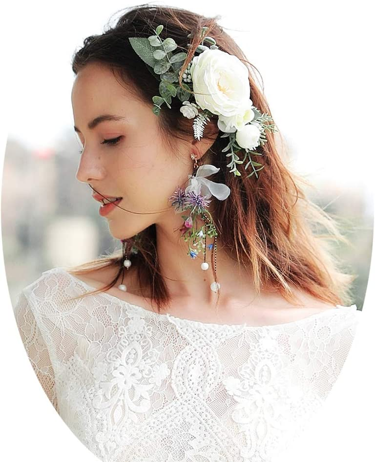 J.Memi's Long Bride Earrings Clip on Stud Flower Handmade Cluster Chandelier Dangle Jewelry Wedding Beach Engagement Accessories