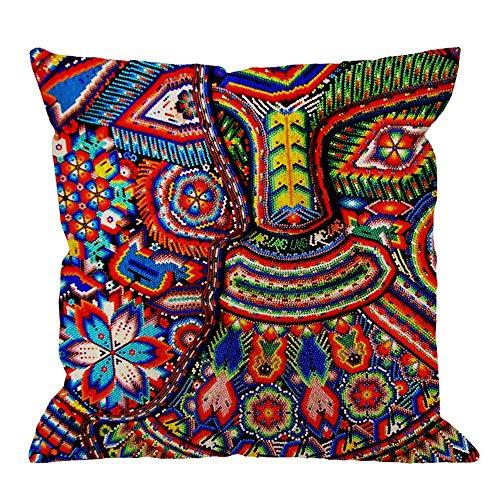Oaxaca México Maya tribal arte manta cojín funda de cojín decorativo funda de almohada para sofá 18 x 18 pulgadas cuadrado manta funda de almohada, multicolor