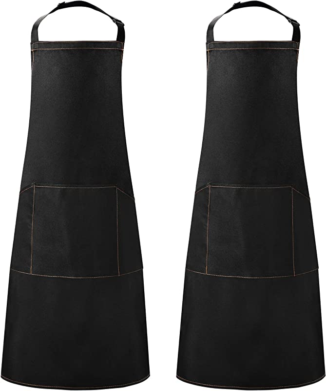 Lavinrose Kitchen Apron Black Thickening Waterdrop Resistant Cooking Apron With 3 Pockets For Men Women 230 G SM Material Adjustable Bib Apron With Long Ties Chef Apron Waitress Apron 2 Pack