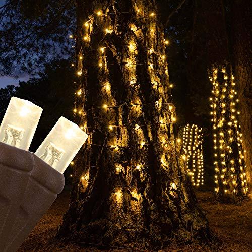 70 Warm White LED StretchNet Pro Expandable Christmas Net Lights for Medium Trees, LED Tree Wrap Lights - 21' x 31' Stretchable Net - Brown Wire Trunk Wrap Lights