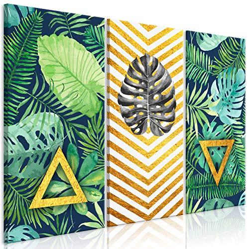 murando - Cuadro en Lienzo Tropical Hojas Monstera 90x60 cm - Impresión de 3 Piezas Material Tejido no Tejido Impresión Artística Imagen Gráfica Decoracion de Pared - Verde b-A-0366-b-e