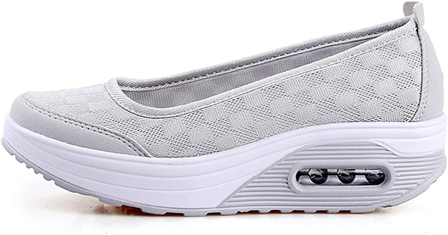 ASO-SLING Women's Platform Wedge Sneakers Comfortable Lightweight Casual Slip on Fitness Walking shoes Breathable Loafers