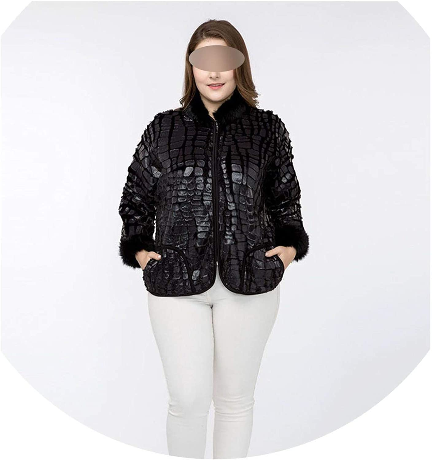 Contentment Fur Sleeve Stand Collar Faux Crocodile Leather Skin Warm Jacket