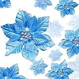 WILLBOND 36 Piezas Flores de Navidad Boda de Artificial de Purpurina de Nuevo Deseo de Festivo Poinsettia Purpurina Adorno de Árbol de Navidad, 3/4/ 6 Pulgadas (Azul)