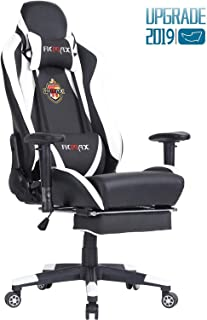 Ficmax Massage Gaming Chair Reclining Racing Office Chair Ergonomic Gamer Chair for Adult with Footrest High Back PU Leather Computer Chair Plus Size Video Game Chairs with Headrest and Lumbar Support