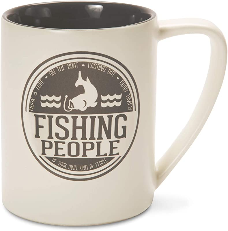 Pavilion Gift Company 67088 We People Fishing People Ceramic Mug 18 Oz Multicolor