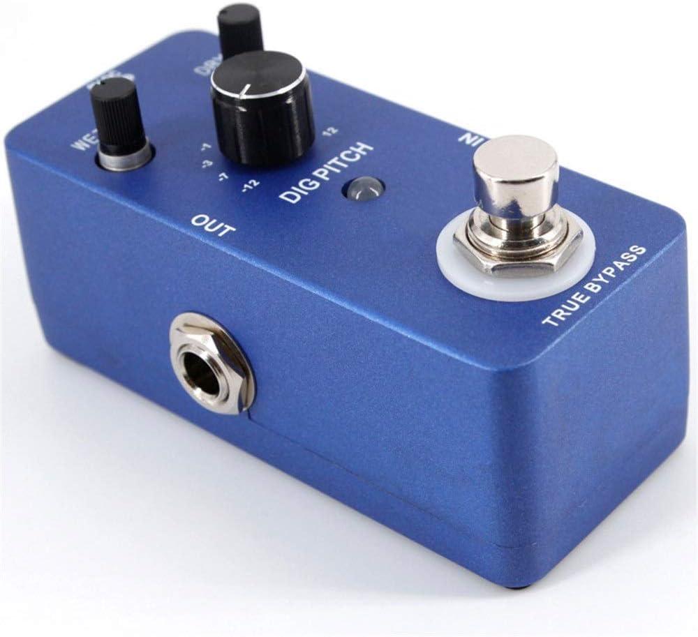 Pedal Efecto Guitarra Pitch Shifter portátil Efecto de guitarra Pedal Pitch Shifting Efectos de armonía Cuerpo de aleación de zinc True Bypass ( Color : Azul , tamaño : Free size )