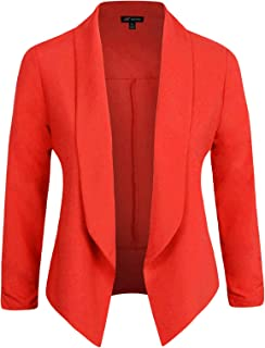 Michel Womens Casual Blazer Work Office Lightweight Stretchy Open Front Lapel Jacket with Plus Size