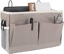 Frjjthchy Bedside Hanging Storage Basket Multi-Function Organizer Caddy for Headboards Bunk Beds Hospital Bed Dorm Rooms (with Pocket, Grey)