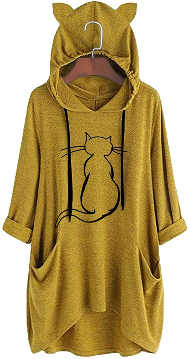 XXBR Tunic Cat Hoodies for Womens Plus Size, Fall Cute Heart Printed Casual Hooded Sweatshirts Pullover with Pocket