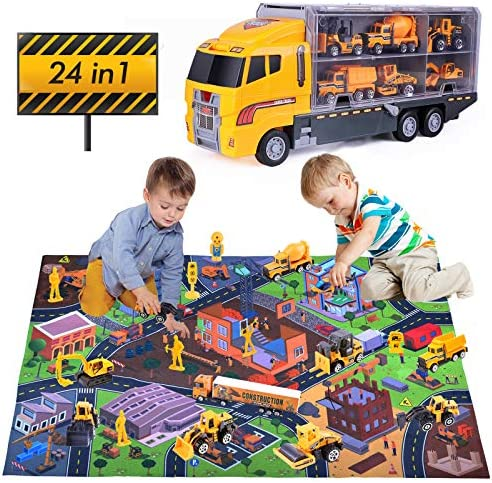 24 in 1 Construction Vehicles Truck Toys Set with Play Mat 11 Mini Die cast Cars Play Vehicle product image