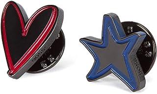 BOSS Star_Heart_Pin Spilla, Nero1, Taglia unica Uomo