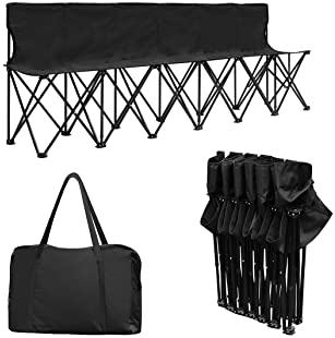 Giantex Portable 6 Seats Folding Chair Bench Outdoor Sports Camping W/Carrying Bag