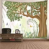 Kihomedy Hippi Wandteppich, Baum Und Schmetterling Grün Braun Wandteppich Deko Tuch Wandtuch Wandbehang 260X240Cm