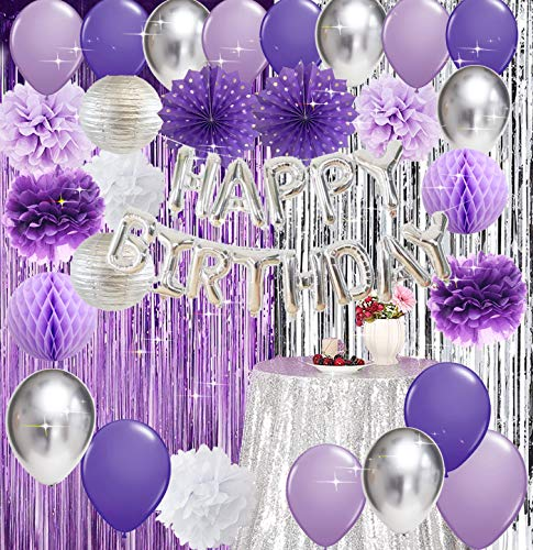 Purple Silver Birthday Party Decorations for Women 40th/50th/60th/70th/80th Birthday Happy Birthday Aluminium Balloons Latex Balloons Polka Dot Paper Fans/Girl Purple Birthday Decorations Purple Silver Foil Curtains Photo Backdrop