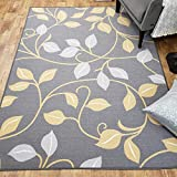 Area Rug 5x7 Gray Floral Kitchen Rugs and mats | Rubber Backed Non Skid Rug Living Room Bathroom Nursery Home Decor Under Door Entryway Floor Non Slip Washable | Made in Europe