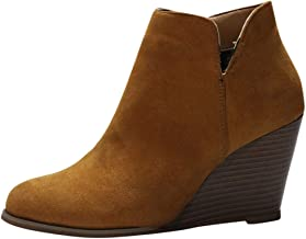 BODOAO Women Wedges Booties Suede Zipper Solid Color Short Booties Round Toe Shoes