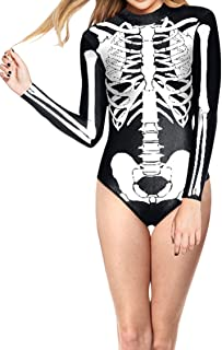 Timemory Women Halloween Skull Costume Printing Skeleton Cosplay Jumpsuit Romper