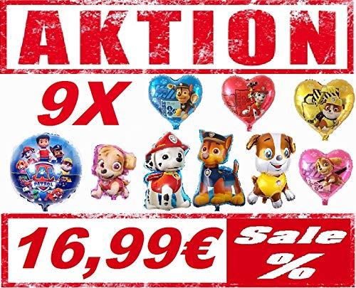 Generisch Hunde Ballon XXL Folienballon Luftballon - Paw Patrol Hund - Kindergeburtstag Deko Dekoration(Set mit 9 Ballons)