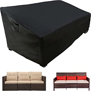 WLEAFJ Patio Sofa Cover Waterpoof, 3-Seater Outdoor Sofa Cover, Heavy Duty Deep Lounge Loveseat Cover, Large Lawn Patio Fu...