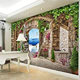 Hhkkckカスタム壁壁画ヨーロピアンスタイル3Dステレオアーチ海辺の風景緑の葉の壁紙リビングルームのテレビの背景壁紙3 D-280X200Cm
