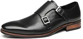 Mens Single Monk Strap Slip On Buckle Loafer Plain Toe Oxford Modern Formal Business Dress Shoes