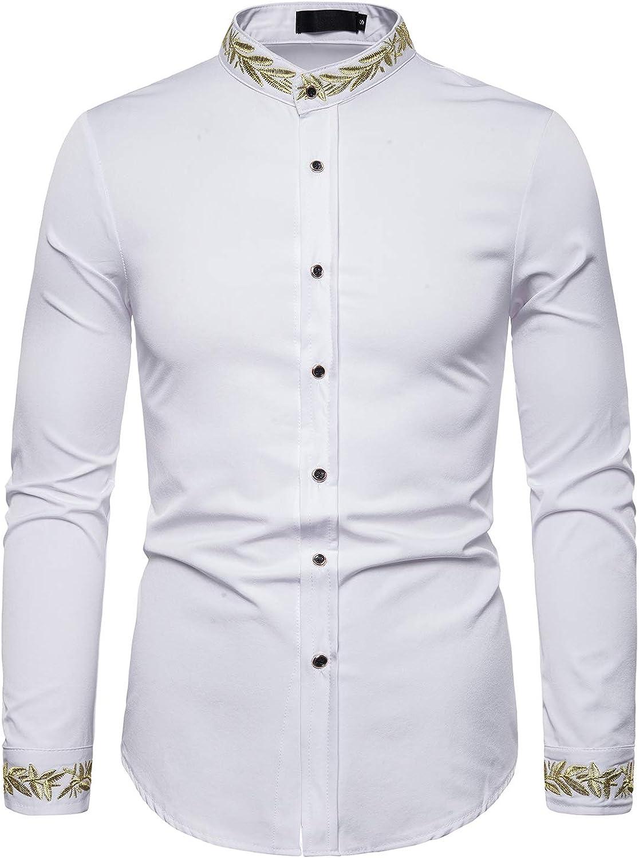 ief.G.S Mens Gold Embroidered Shirt Mandarin Collar Slim Fit Long Sleeve Casual Dress Shirts