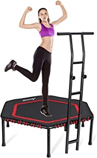 MOVTOTOP Indoor Fitness Trampoline Folding 48 Inch with Adjustable Handrail and Safety Pad, Exercise Trampoline Rebounder for Kids Adults (48 Inch Red)