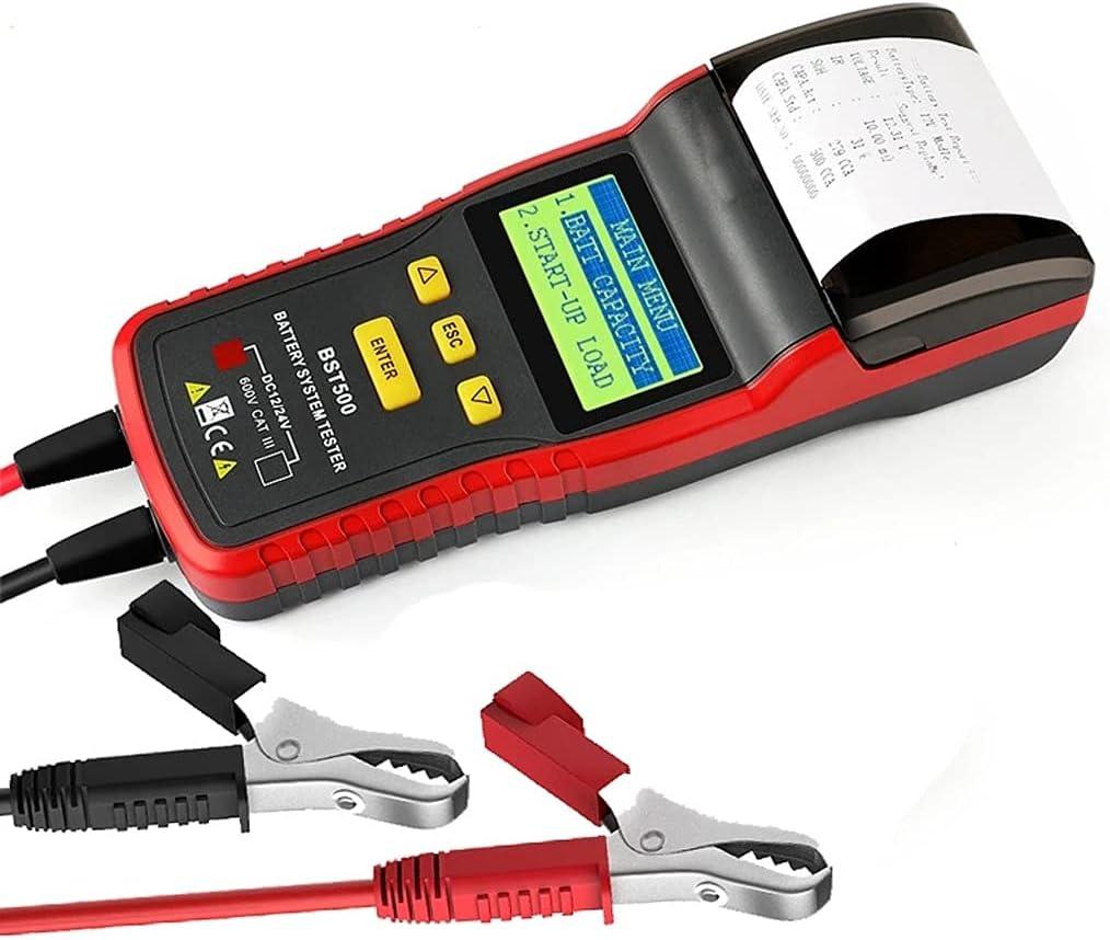 TWDYC BST500 12V & 24VCAR Analizador de probador de Carga de batería con Impresora Herramienta de batería de automóvil para Camiones de Servicio Pesado Herramienta de diagnóstico automático