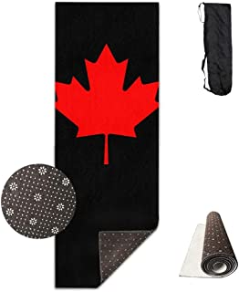 Bikini bag Yoga Mat Non Slip Canada Maple Leaf Printed 24 X 71 Inches Premium for Fitness Exercise Pilates with Carrying Strap