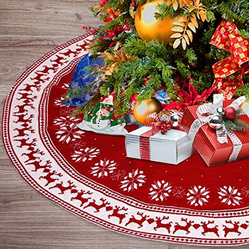 Christmas Ornament Tree Skirt, 48 inch Snow Flower Elk Red Tree Skirt Rustic Xmas Tree Skirt for Christmas Decorations Indoor Outdoor (White and red)