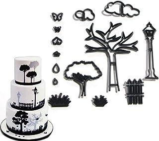 EORTA Set of 14 Fondant/Cookie Cutter Tree/Cloud/Bench/Butterfly Silhouette Gumpaste Flowers Sugar Craft Mold Cake Decorat...
