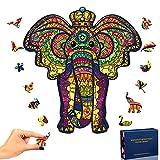 SPECOOL Puzzle de Madera Puzzle de Elefante, Puzzle de Colorido de Forma única Puzzle Animales para Adultos y Niños Colección de Juegos Familiares
