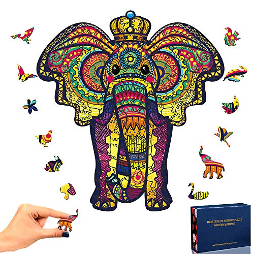 TOLOYE Puzzle in Legno, Elefanti Puzzle Legno 3D Colorato Unico a Forma di Animale Puzzle in Legno Puzzle Animale per Adulti e Bambini Collezione di Giochi per Famiglie Miglior Regalo (Elefanti )