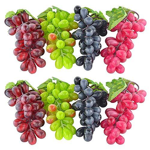 4 Stück künstliche Kunststofftrauben für Küchenhochzeitsfotografie Requisiten Gefälschte falsche Fruchttrauben INS Foto