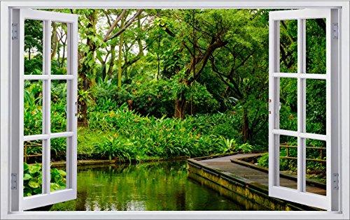 DesFoli Wald 3D Look Wandtattoo 70 x 115 cm Wanddurchbruch Wandbild Sticker Aufkleber F385