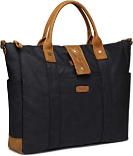 Laptop Bag for Woman,VASCHY Water Resistant Vintage Leather Waxed Canvas Laptop Tote Work Bag for Women Fits 15.6inch Lapt...