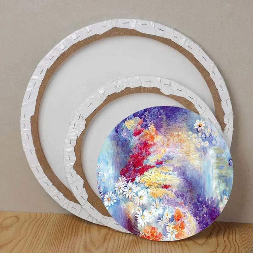EXCEART 2Pcs Stretched Canvas Wood Frame Cotton Panels Round for Painting Media Oil Acrylic Paint Drawing Board Student Hobby Painters Beginner Gift White 20cm