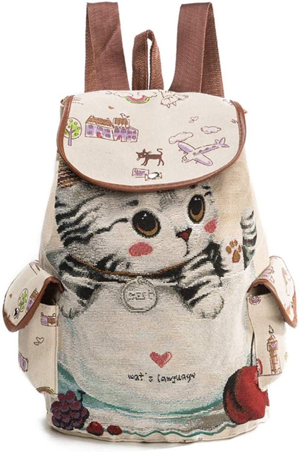 LAZNG Leisure Waterproof Sports Backpack, Cute Cats Pattern Canvas Rucksack Lightweight Hiking Riding Large Capacity Backpack WearResisting Unisex School Bag (color   C, Size   39×28×13cm)