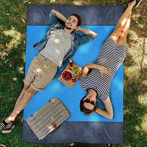 Kyhon Picknickdecke 210 x 200cm, Stranddecke wasserdichte, Sandabweisende Campingdecke 4 Befestigung Ecken, Tragbare Campingmatte Ultraleicht kompakt Wasserdicht und Sandabweisend (Blue)