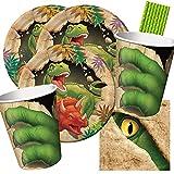 spielum Set da 40 pezzi dinosauri – Dino – Allarme – Piatti, bicchieri piccoli tovaglioli – Cannucce per 8 bambini