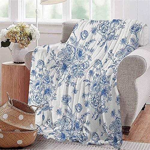 Manta de diseño victoriano de Anemonal, cómoda y grande, con un ramo de flores azul, de delicado diseño victoriano, de microfibra o azul noche de viaje, ligera, para invierno, para todo el año
