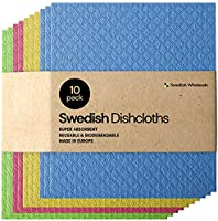 Swedish Dishcloth Cellulose Sponge Cloths - Bulk 10 Pack of Eco-Friendly No Odor Reusable Cleaning Cloths for Kitchen -...