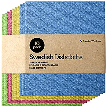 Swedish Wholesale Swedish Dish Cloths - Pack of 10 Reusable Absorbent Hand Towels for Kitchen Bathroom and Cleaning Counters - Cellulose Sponge Cloth - Assorted