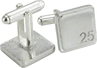 Square Cufflinks with '25' Engraved - 25th Anniversary