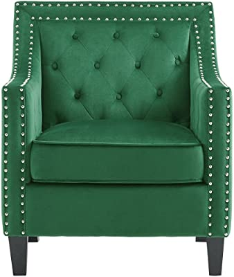 Hanover Emerald Green, Willa Button Tufted Accent Chair, HUP304-GRN, 36.000